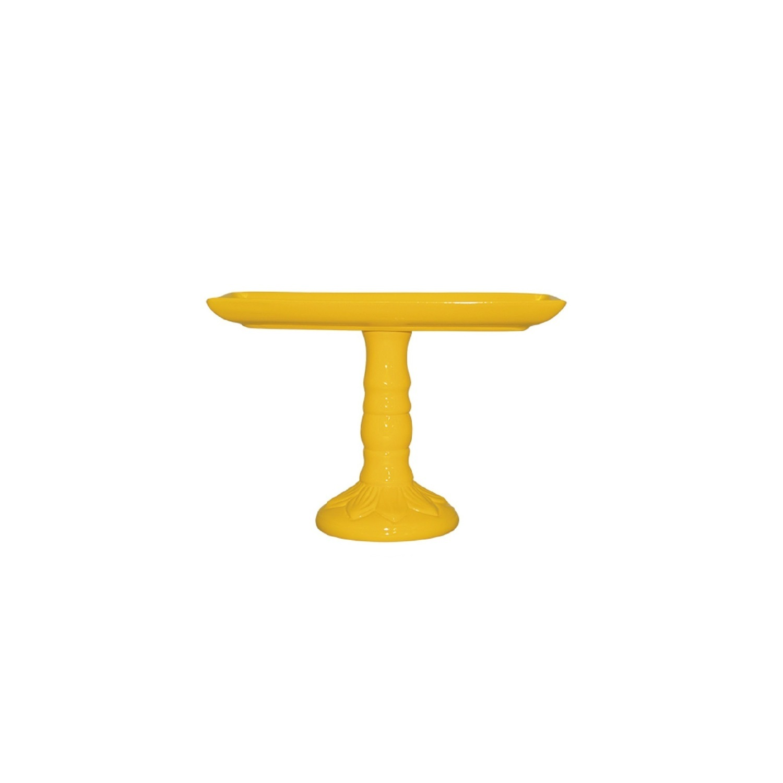 Bandeja Com Pé Em Cerâmica Amarela