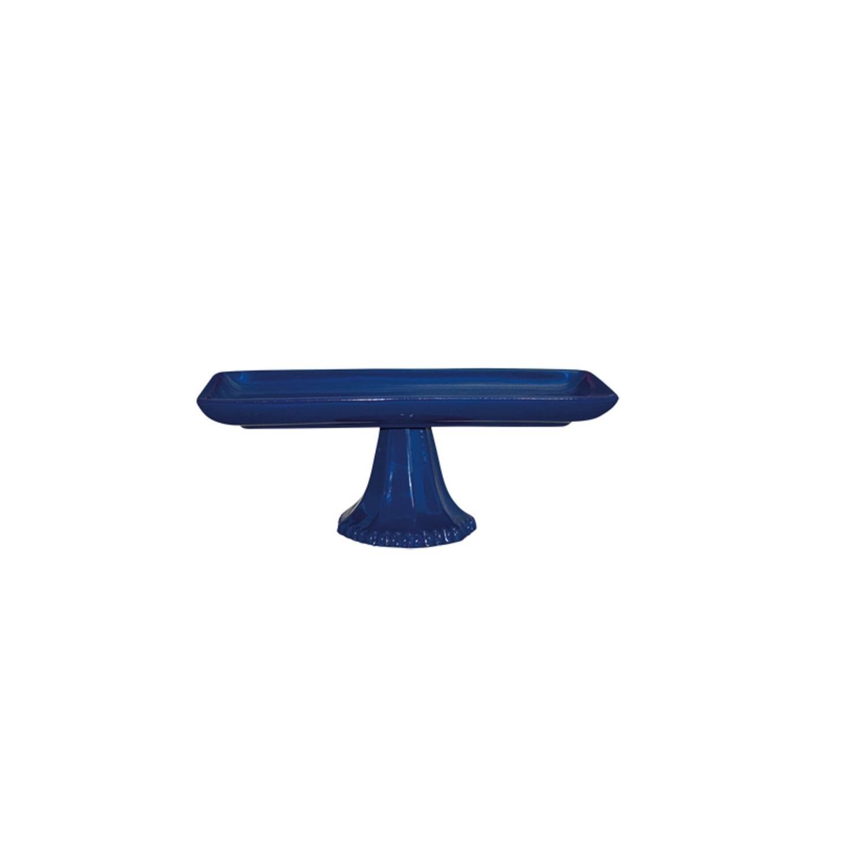 Bandeja Com Pé Em Cerâmica Azul Cobalto