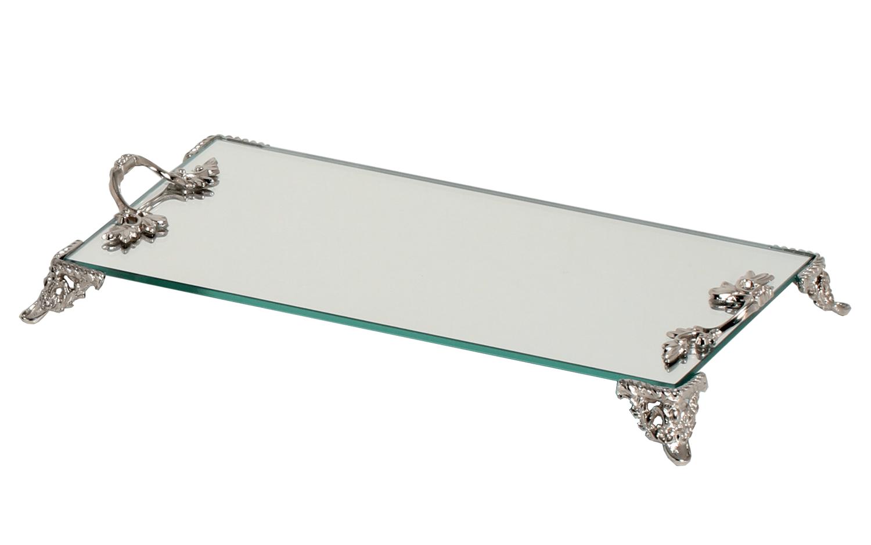 Bandeja Espelhada Vidro Pés E Alças Em Metal Retangular 12x22cm