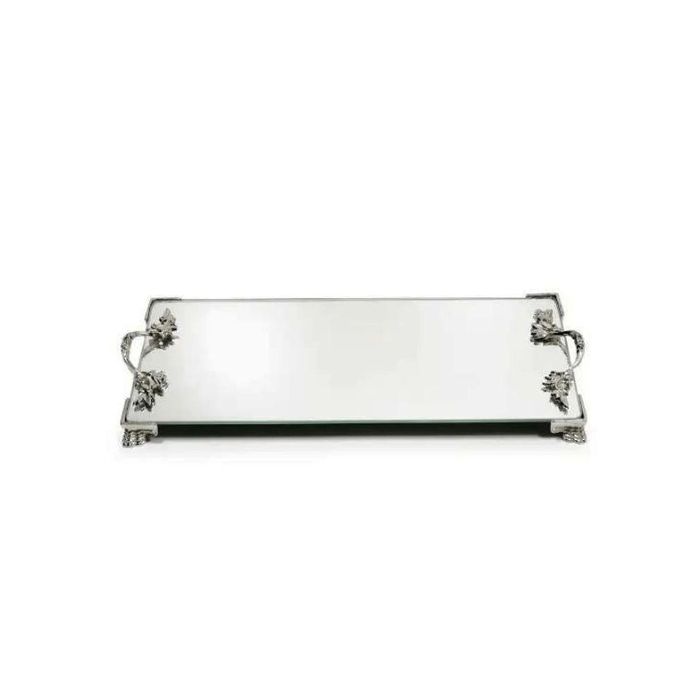 Bandeja Espelhada Vidro Pés E Alças Em Metal Retangular 25x10cm