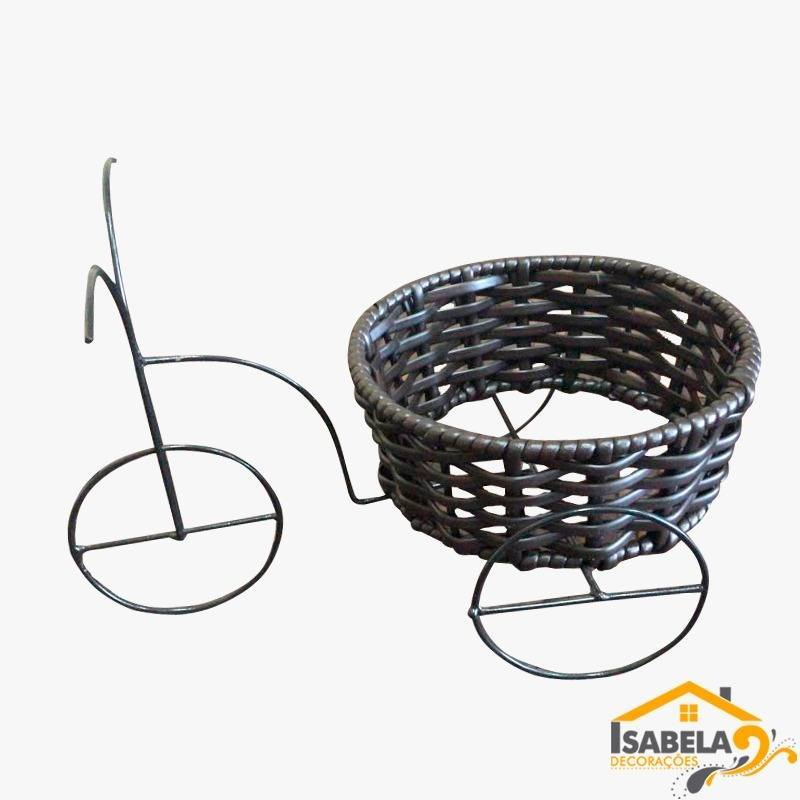 Bicicleta Cachepôt Média em Ferro e Fibra Sintética / Junco