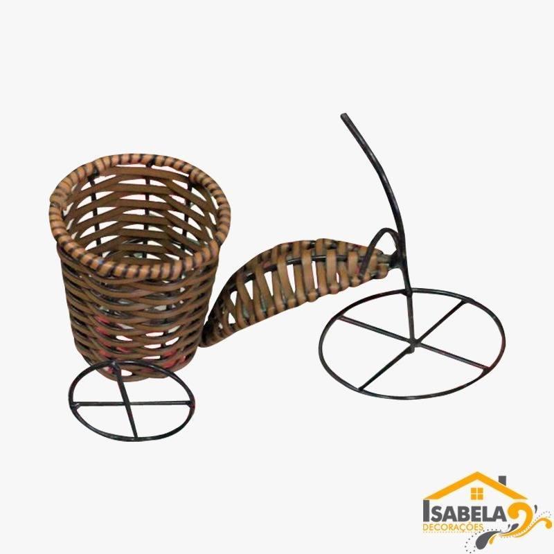 Bicicleta Cachepôt PP em Ferro e Fibra Sintética / Junco
