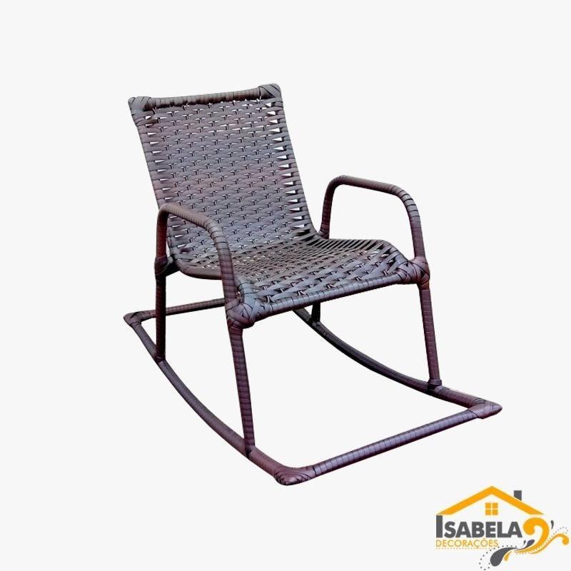 Cadeira De Balanço Infantil em Ferro e Junco