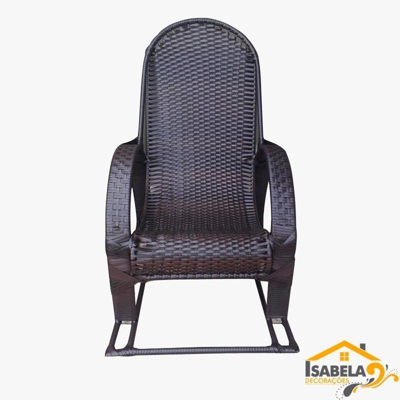 Cadeira de Balanço em Ferro e Fibra Sintética / Junco