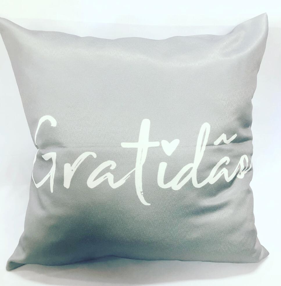 Almofada Gratidão (Cinza E Branco)