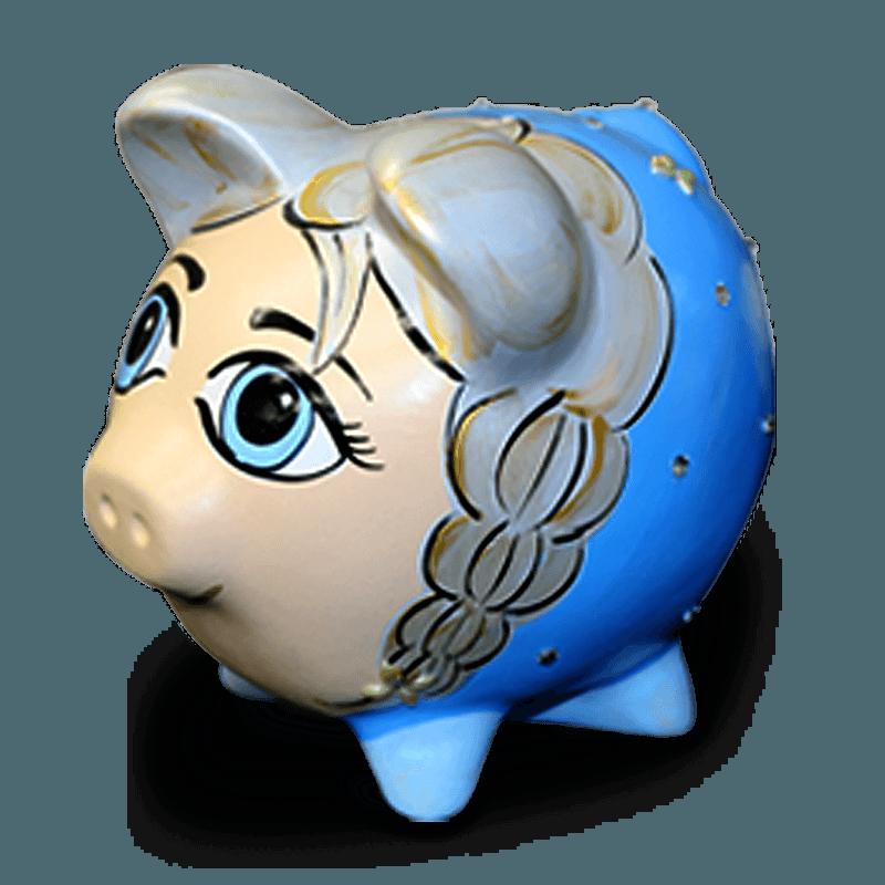 Cofre Porco Elza Frozen Cerâmica Colorido