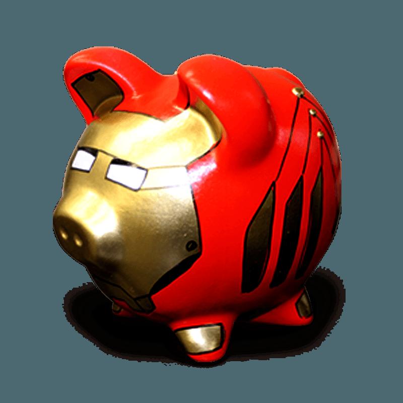 Cofre Porco Homem De Ferro Cerâmica Colorido
