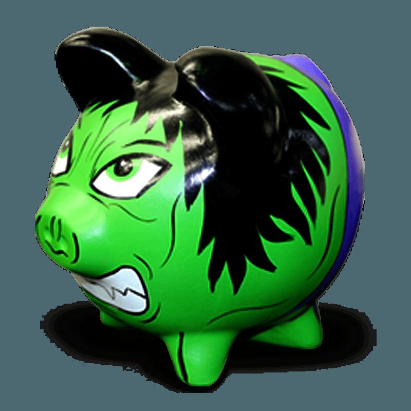 Cofre Porco Hulk Cerâmica Colorido