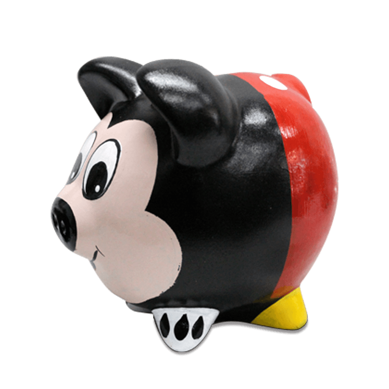 Cofre Porco Mickey Cerâmica Colorido