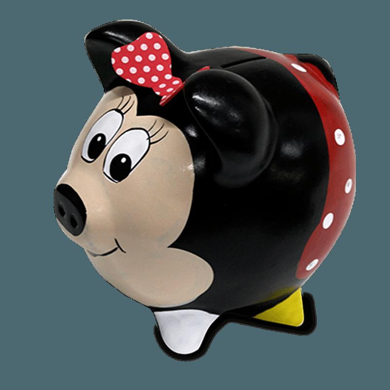 Cofre Porco Minnie Cerâmica Colorido