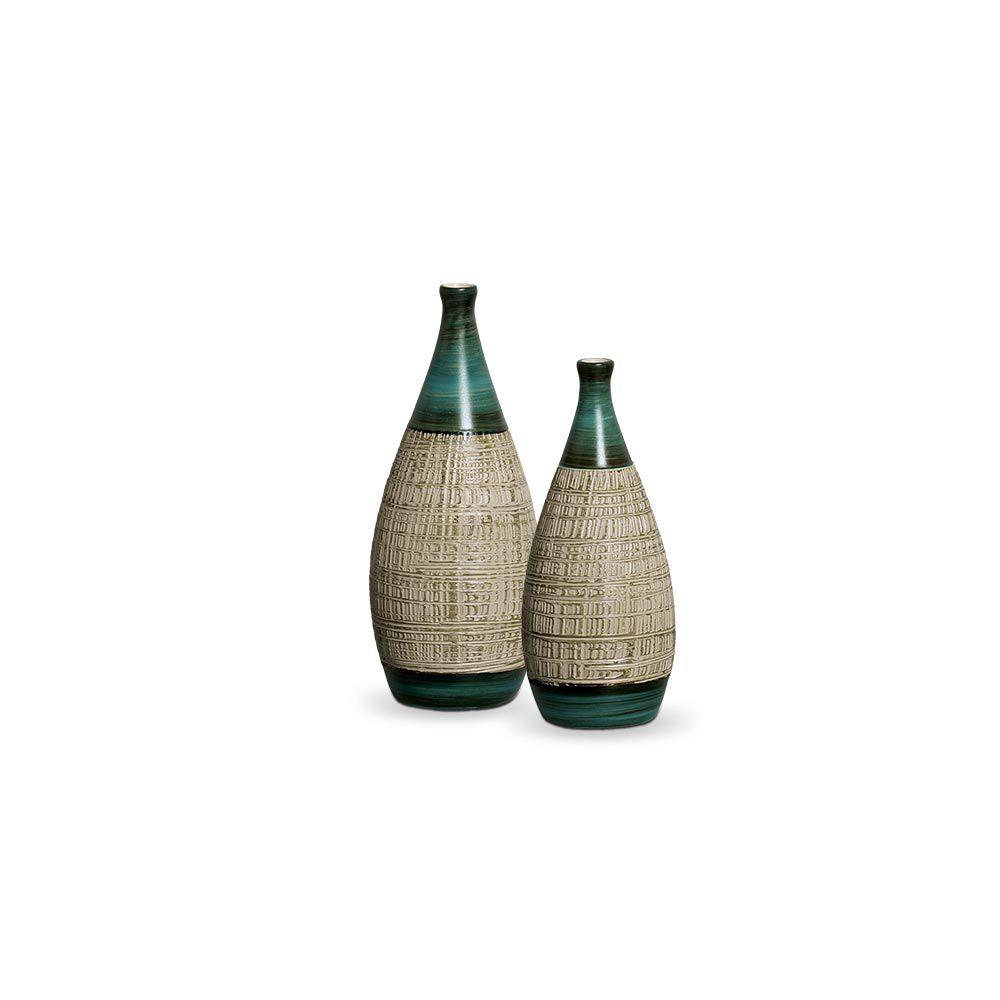 Dupla Garrafa Mel Decoração Em Cerâmica Verde e Palha Ganash