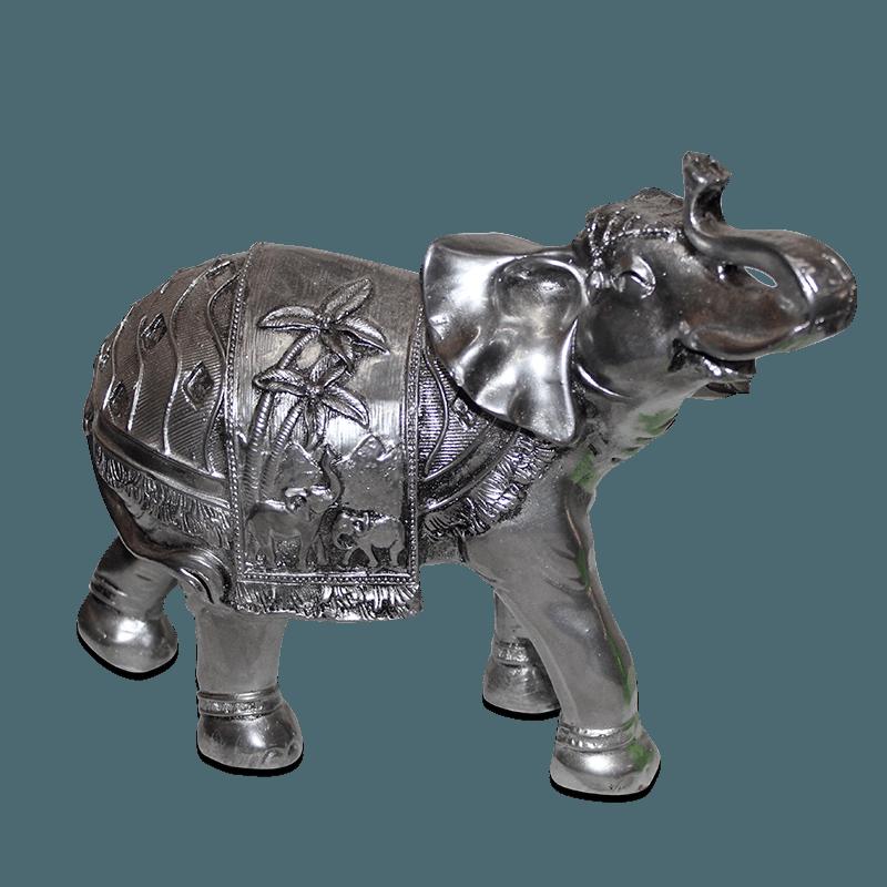 Elefante Coqueiro Médio Gesso Prata