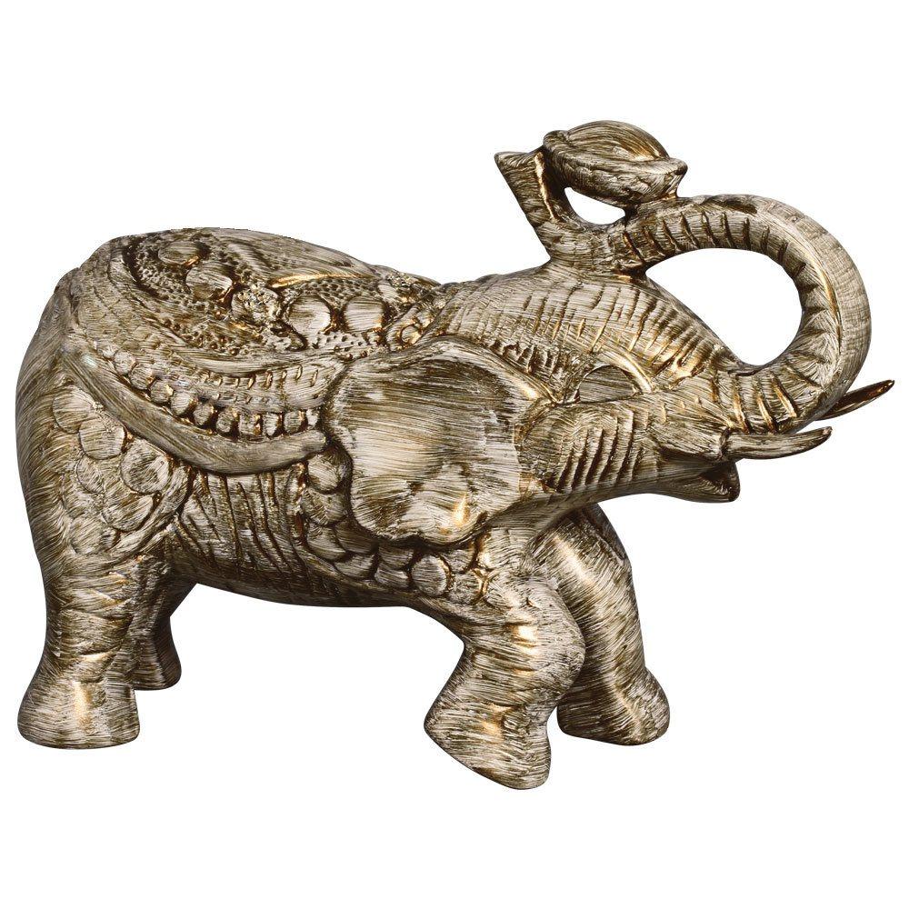 Elefante Decorativo Em Cerâmica Dourado Para Rack de Tv 25x34 cm