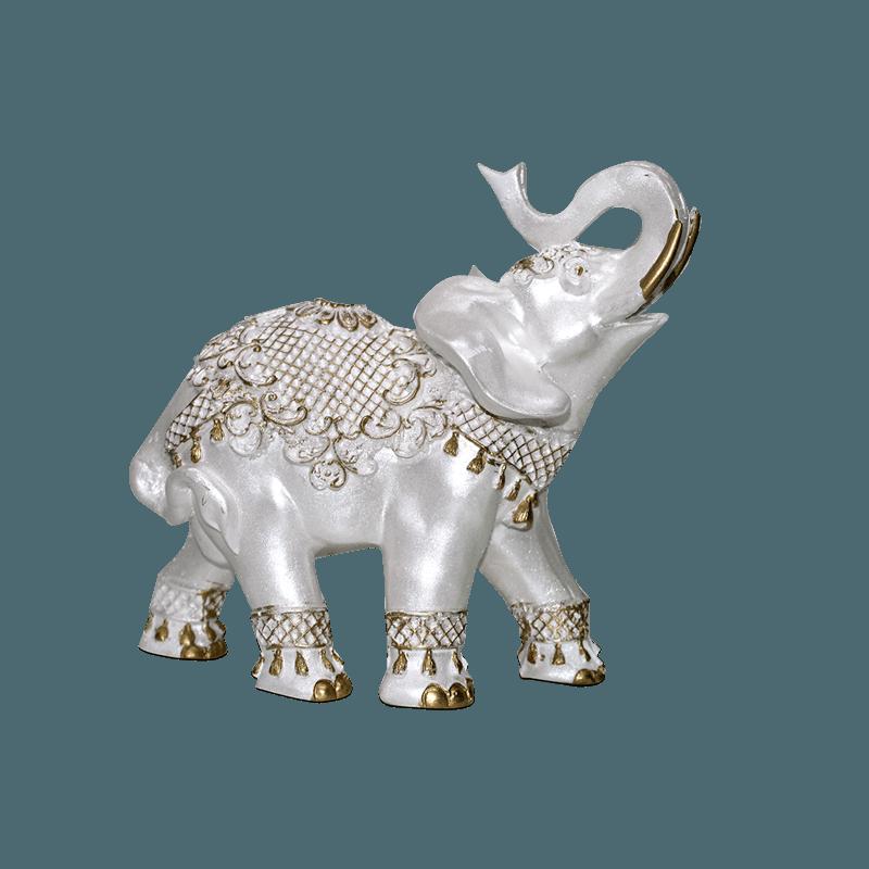 Elefante Flor Grande Gesso Perolizado