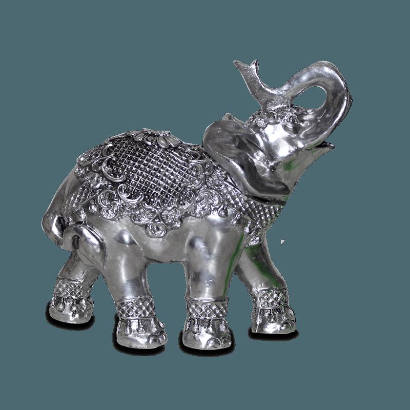 Elefante Flor Grande Gesso Prata
