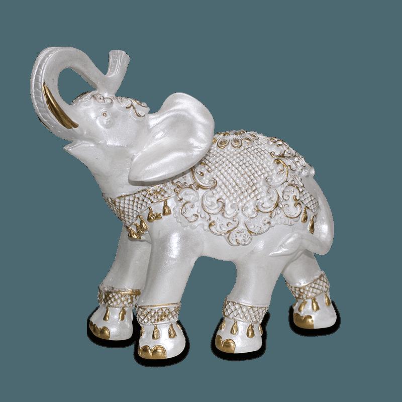 Elefante Flor Médio Gesso Perolizado