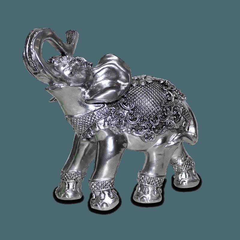 Elefante Flor Médio Gesso Prata
