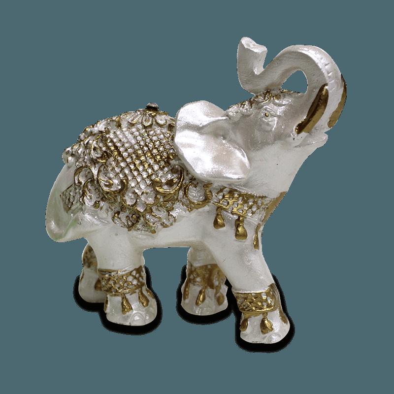 Elefante Flor Pequeno Gesso Perolizado