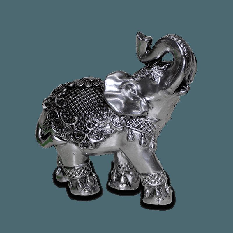 Elefante Flor Pequeno Gesso Prata