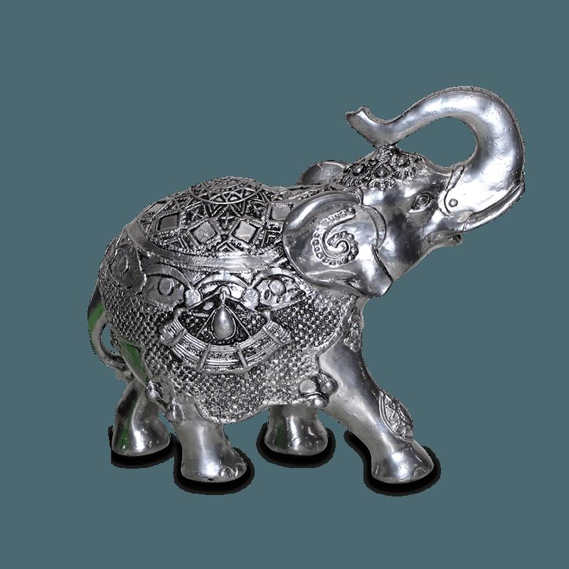 Elefante Rico Grande Gesso Prata