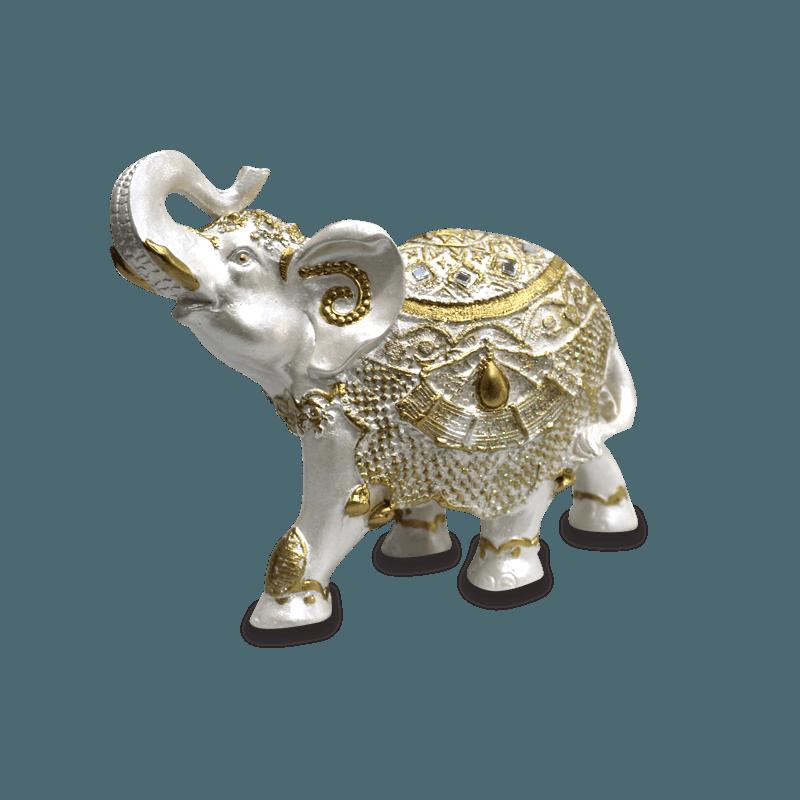 Elefante Rico Médio Gesso Perolizado