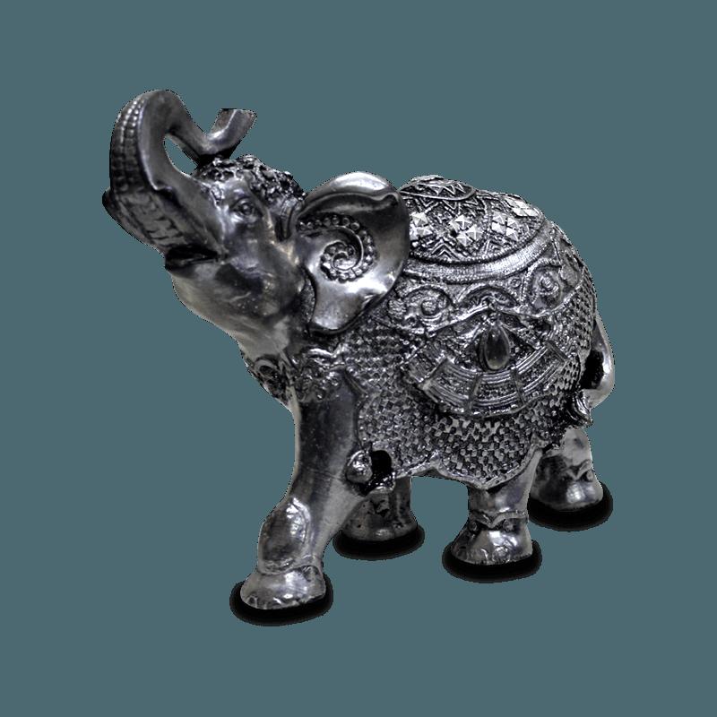 Elefante Rico Médio Gesso Prata