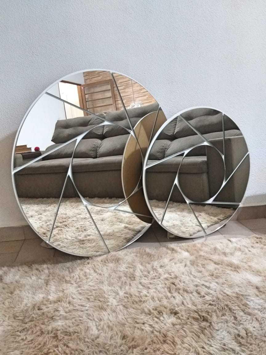 Espelho Decorativo de Parede Modelo Ciclone, Disponível nos Tamanhos de 1 x 1 Metro e 0,80 x 0,80 cm