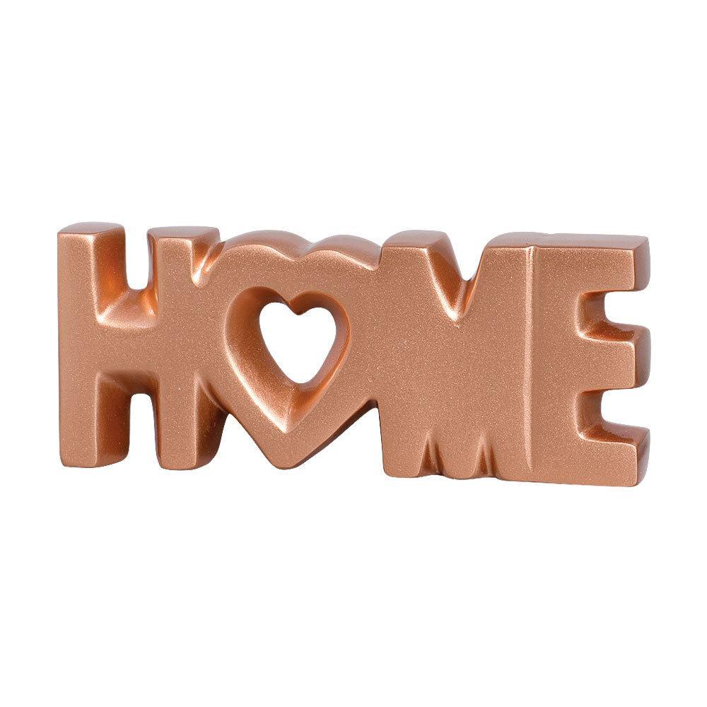 Palavra Home em Cerâmica Cor Bronze