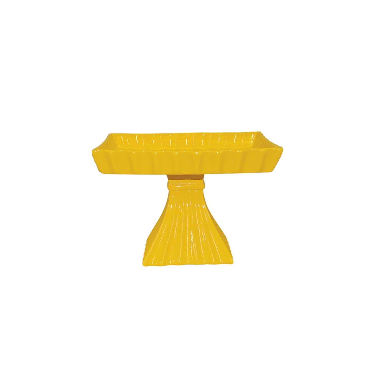 Fruteira Em Cerâmica Amarela