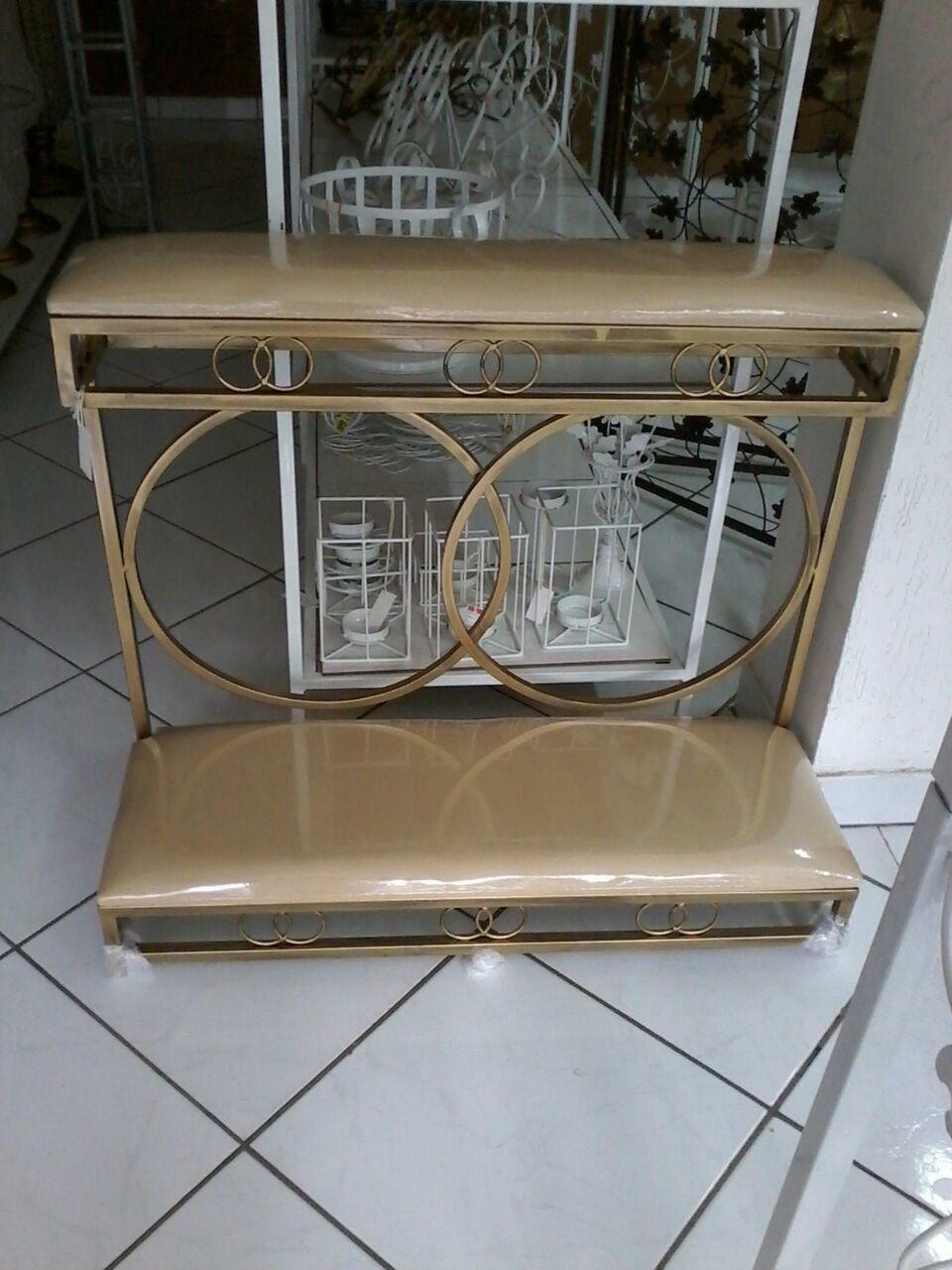 Genuflexório Duplo Desmontável Ferro Dourado Envelhecido