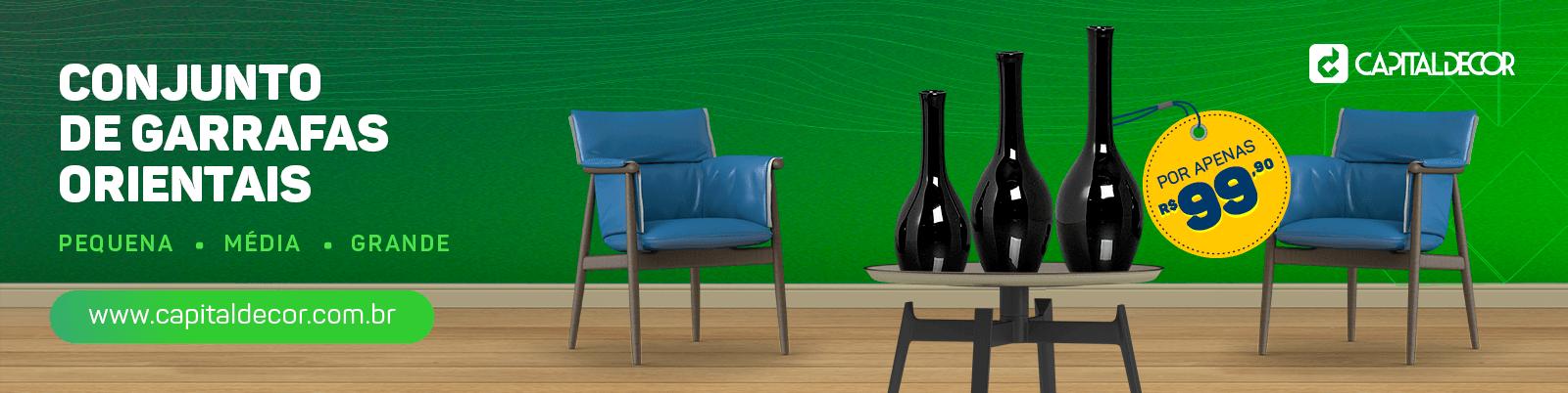 Trio de garrafas orientais