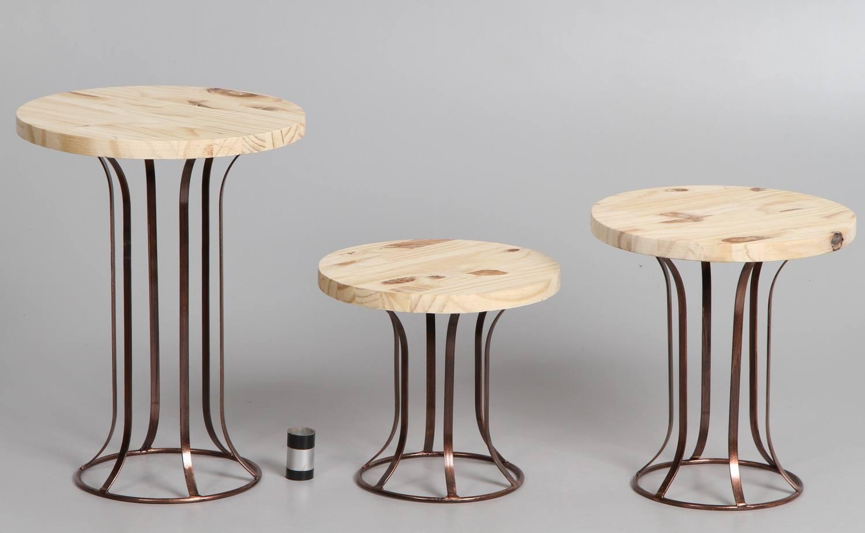 kit 3 suportes de doces pedestal P/M/G Rosê Gold