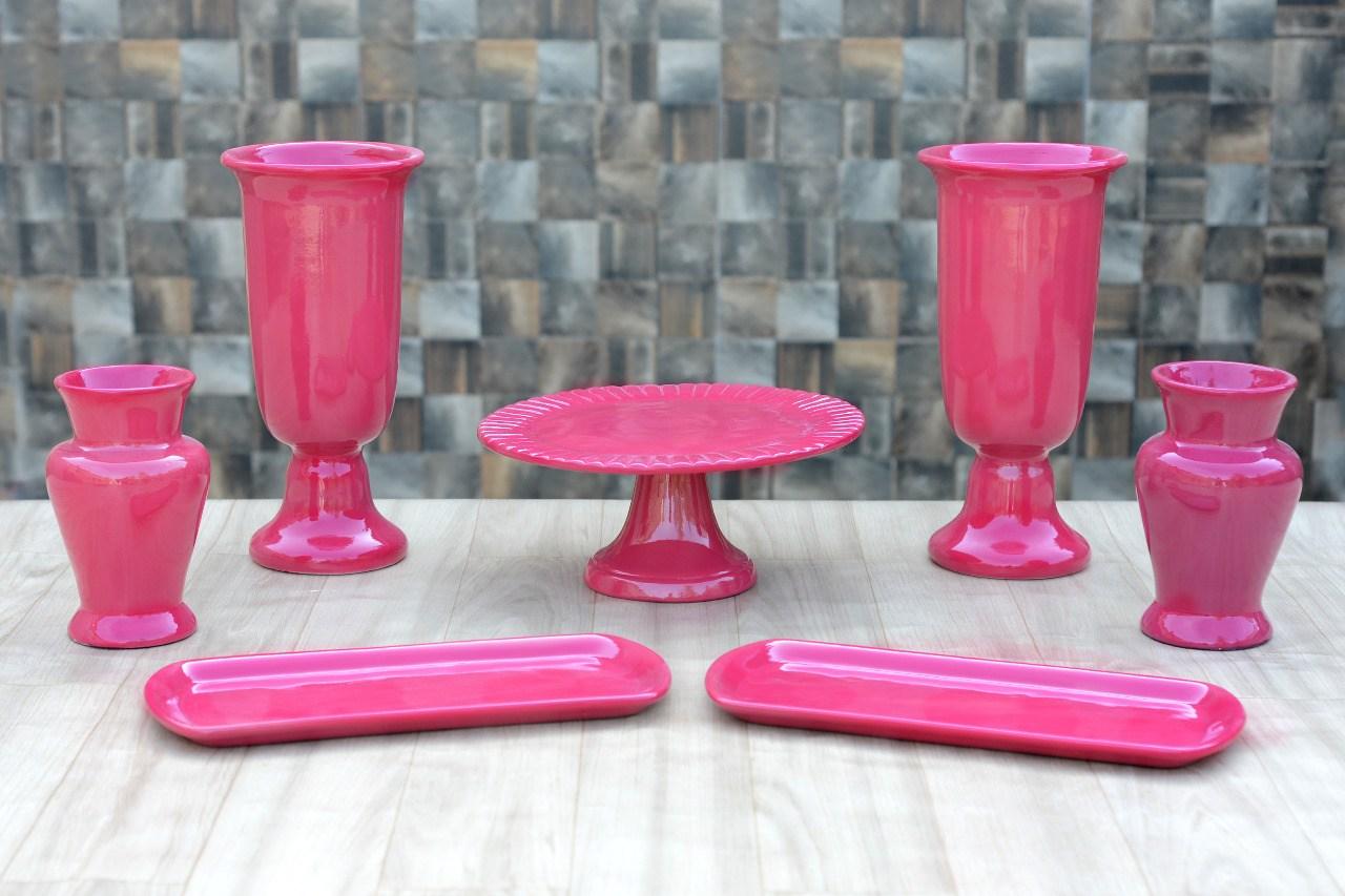 Kit Cerâmica para Festas Pink 7 Peças c/ Taças Boleiras e Travessas - Eventos e Decoradores