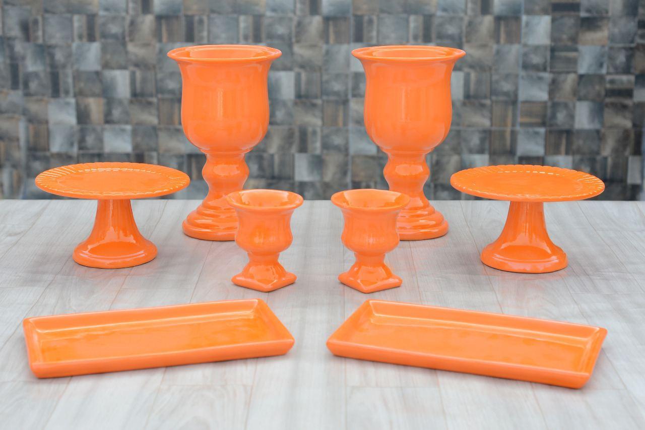 Kit Cerâmica para Festas Laranja 8 Peças c/ Taças Boleiras e Travessas - Eventos e Decoradores