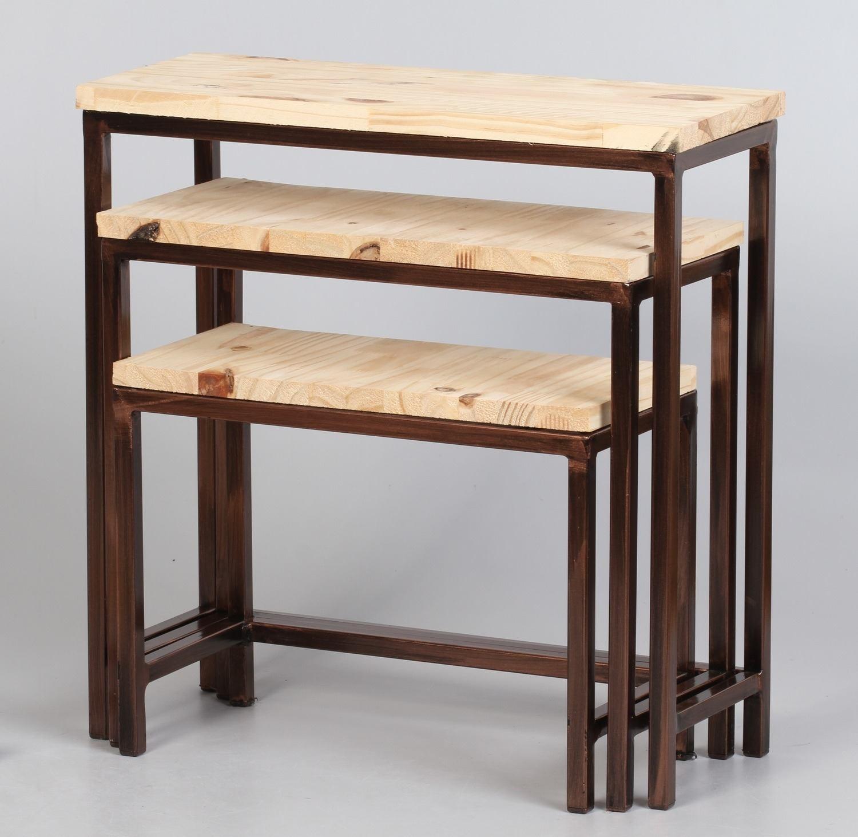 Kit com 03 Mini Table Encaixável na Cor Cobre