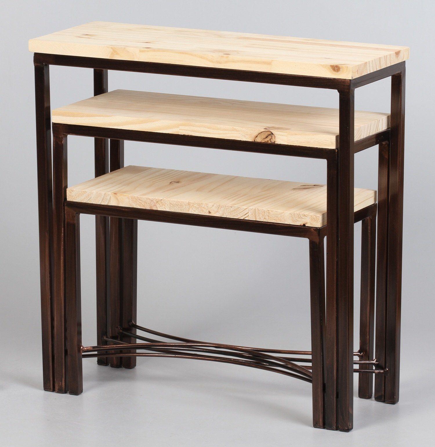 Kit com 03 Mini Table Encaixável, Pé em X na Cor Cobre
