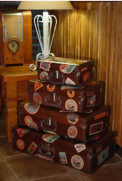 Kit de Maletas Vintage Retro Rústicas Fibra de Casca de Coco Prensado