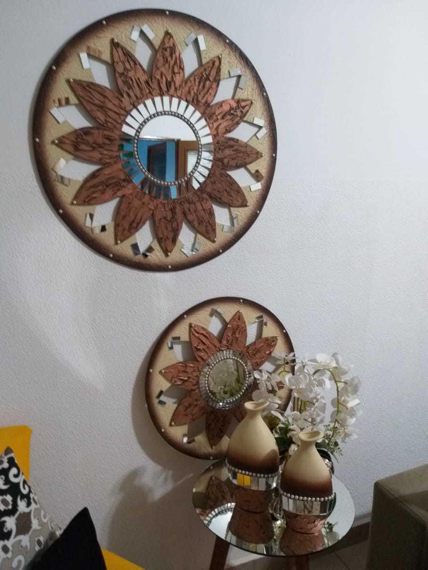 Kit Trio de Quadros Mandalas Decorativas de Parede Modelo Estrela Cor Bronze, 1 Metro, 80 cm e 60 cm de Diâmetro