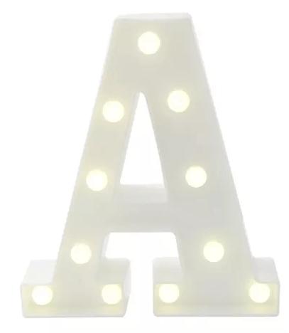 Luminária Letra A Branca Decorativa Em Led