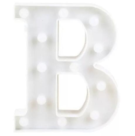 Luminária Letra B Branca Decorativa Em Led