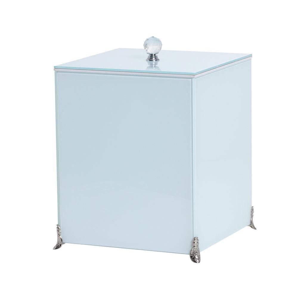 Lixeira Espelhada Branca Lavabo Puxador Cristal Pés Metálicos CR Vidros