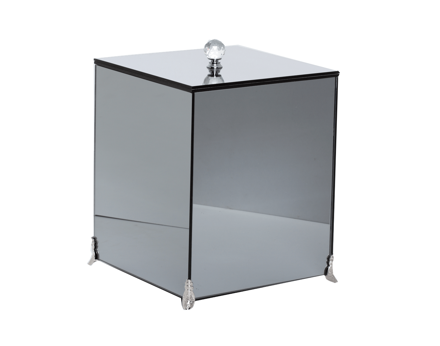 Lixeira Espelhada Fumê Lavabo Puxador Cristal Pés Metálicos CR Vidros