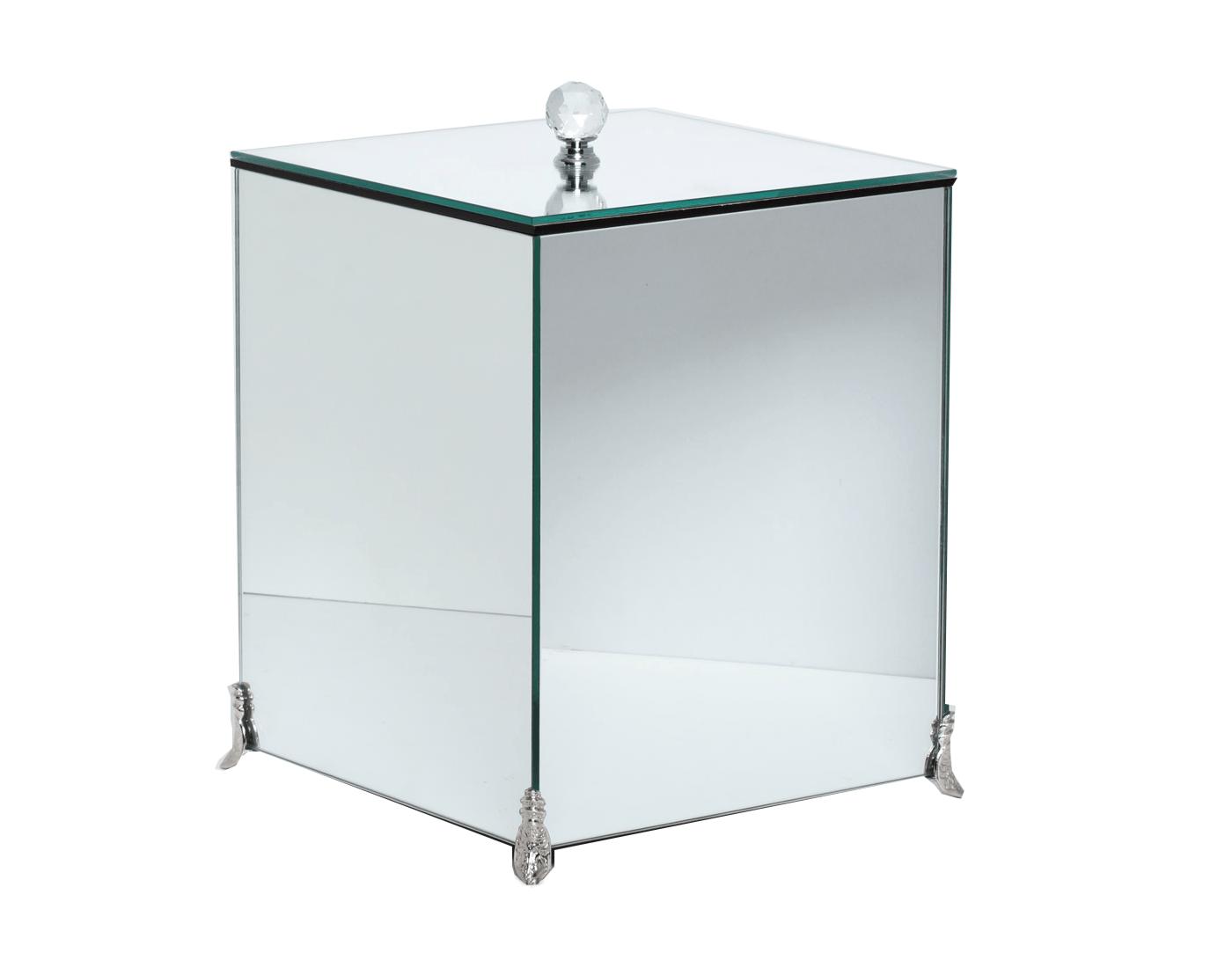 Lixeira Espelhada Lavabo Puxador Cristal Pés Metálicos CR Vidros