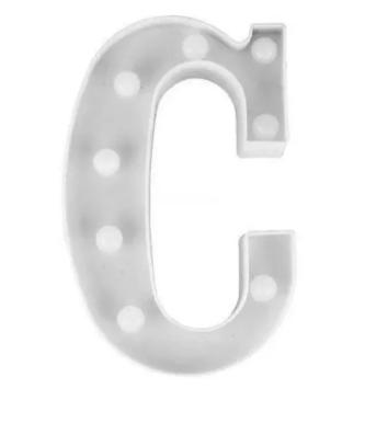Luminária Letra C Branca Decorativa Em Led