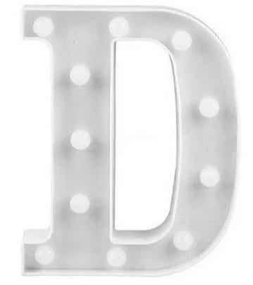 Luminária Letra D Branca Decorativa Em Led