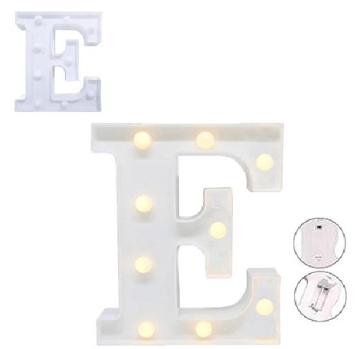 Luminária Letra E Branca Decorativa Em Led