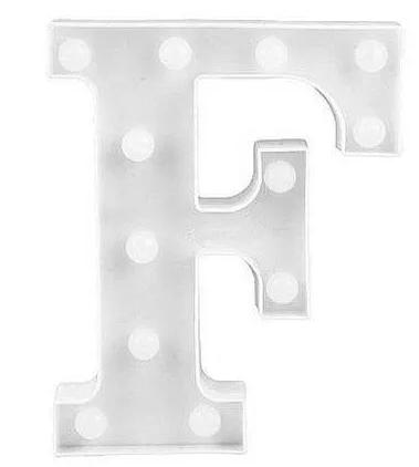 Luminária Letra F Branca Decorativa Em Led