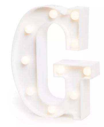 Luminária Letra G Branca Decorativa Em Led