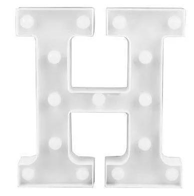 Luminária Letra H  Branca Decorativa Em Led
