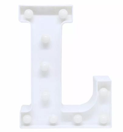 Luminária Letra L Branca Decorativa Em Led